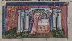 14th century headdress / veil ( manuscript : WLB Cod.bibl.fol.5 Weltchronik, folio 118r, 1383, Germany )