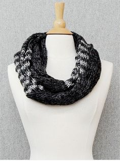 Black and Silver Metallic Infinity Scarf