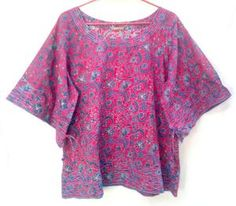 Beautiful Boho Magenta & Blue Chinoiserie Floral Hand print Indian cotton Gypsy style Peasant Tunic top Blouse