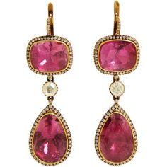 Munnu Pink Tourmaline & Diamond Triple-Drop Earrings