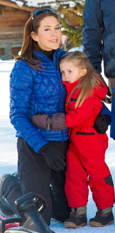 Crown Princess Mary of Denmark with youngest daughter Princess Josephine in Verbier, Switizerland Feb. 2015
