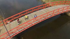 Taking a walk with the kids over Rotary Park bridge in Stony Plain #AerialVideos #AerialPhotos #AerialPhotorgraphy