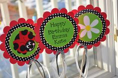 3 Ladybug Centerpiece Sticks - Girls Birthday Party - Personalized Party Decorations - Red, Green, Black