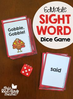 FREE Editable Sight Word Dice Game for Thanksgiving. Awesome literacy center or word work activity!