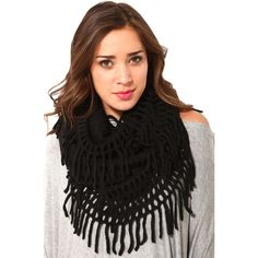 AKIRA Fringe Infinity Scarf in Black and other apparel, accessories and trends. Browse and shop 1 related looks.