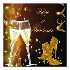 "50 & Fantastic Fabulous Gold Champagne Shoes 2 5.25"" Square Invitation Card"