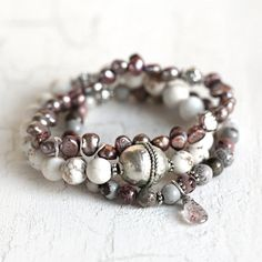 Beaded Bracelet Set with White Turquoise, Jasper and Pearl Gemstone Bracelets - Free Shipping
