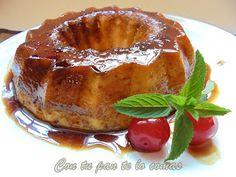 Con tu pan te lo comas: PUDIN DE MELOCOTÓN EN ALMÍBAR (Microondas)