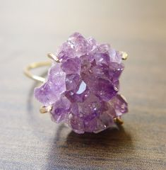 Featuring a stunning natural purple amethyst crystal mineral stone in absolutely beautiful quality. The gemstone was hand crafted into a gold Druzy Jewelry, Amethyst Jewelry, Amethyst Crystal, Purple Amethyst, Metal Jewelry, Crystal Jewelry, Jewellery, Amethyst Rings, Gemstone Rings