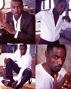 Jesus take the wheel!   Tailored look, crisp white shirt, sport coat, suit, beautiful men, #IdrisElba