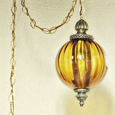 Vintage hanging light - swag lamp - hanging lamp - amber globe - chain cord  - pendant light - orange via Etsy