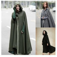 Winter Womens Casual Loose Hooded Wool Blend Long Cape Cloak Poncho Coat Stylish