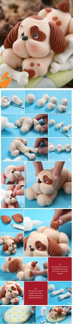 I would like to do this idea in clay .DIY Cute Dog Fondant Cake Topper - Step-by-Step Tutorial Fondant Toppers, Fondant Dog, Fondant Animals, Fondant Cakes, Cupcake Cakes, Clay Animals, Fondant Recipes, Buttercream Fondant, Frosting