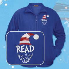 """Celebrate reading this winter at your library with warm embroidered appliqué """"READ"""" fleece jackets from WorkPlacePro! Get yours today at www.workplacepro.com"""