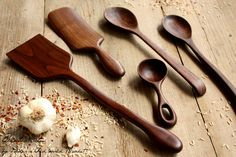 Ustensile de cuisine en bois situé, cuillère en bois, spatule, Spurtle, café Scoop en noyer noir