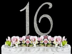 Rhinestone Cake Topper Number 16 -- Sensational bargains just a click away : Baking decorations