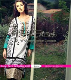 K4-A of Komal Kurti Collection 2014 Vol. 3 by LSM Fabrics is perfect for summer season. It consists of an embroidered front and printed back along with printed sleeves.