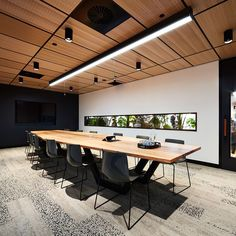 Thoughtful use of perforated oak lay in ceiling panels at the Billard Leece Partnership Office Fitout in Melbourne More: – interior Modern Office Decor, Industrial Office Design, Contemporary Office, Modern Interior Design, Industrial Lighting, Modern Industrial, Law Office Decor, Modern Offices, Linear Lighting