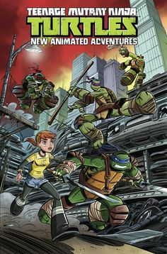 Teenage Mutant Ninja Turtles: New Animated Adventures, Vol. 1   Kenny Byerly, David Tipton, Scott Tipton, Erik Burnham(w) • Dario Brizuela (a & c) Spinning straight out of the hit Nickelodeon show, it's the first action-packed collection of the all-ages book perfect for fans both old and new! Four fantastic tales pit the Turtles against villains like Snakeweed, the Shredder, and a horde of zombies! TPB • FC • $17.99