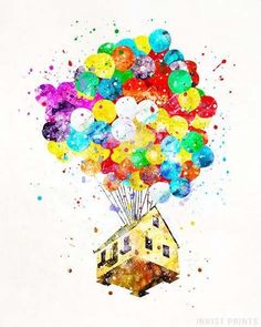 Balloon House, Up Disney Watercolor Wall Art Poster - Prices from $9.95 - Click Photo for Details - #disney #watercolor #babyroom #homedecor #nursery #up #BalloonHouse