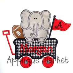Machine Embroidery Design Applique Elephant Wagon by tmmdesigns, $4.00