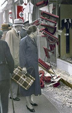 Poland. (Kristallnacht) Night of broken glass where Jewish stores were destroyed and burned.