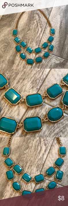 2 strand statement necklace Teal and gold. Good used condition with no flaws. Looks great with a lot of things. Bundle with any other item in my closet and save 20%! Jewelry Necklaces
