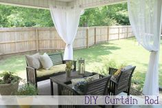 conduit for curtain rods in an outdoor space Outdoor Curtain Rods, Outdoor Curtains For Patio, Gazebo Curtains, Diy Curtain Rods, Diy Curtains, Pergola Patio, Diy Patio, Outdoor Decor, Pergola Ideas