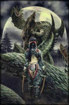 Female Nargacuga Armor X Monster Monster Hunter Games, Monster Hunter Series, Ninja Assassin, Monster Hunter 4 Ultimate, Dragon Knight, Monster Design, Fan Art, Fantasy Girl, Fantasy Artwork