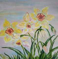 Beautiful Paintings Of Flowers, Beautiful Flowers, Canvas Board, Soft Colors, Daffodils, Spring Flowers, My Etsy Shop, Miniatures