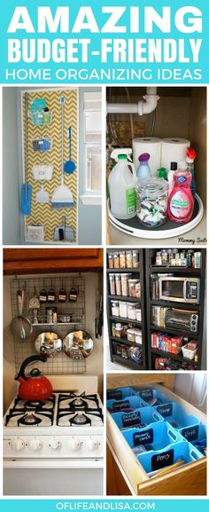 I'm a cheapskate when it comes to organizing my home so I love all of these ideas! Especially the under the sink organizer. Share and repin! #organize #organizing #organizingtips #homesweethome #home #declutter #tidylife