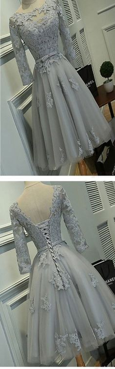 Grey lace tight simple lovely with half sleeve elegant homecoming prom – LoverBridal