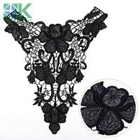 Lace collar 2PCS/lot Black Paper paste leather lace Fabric embroidery lace Collar Venise Lace Flowers Neckline AppliqueTrim sewi