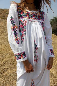 """Bohemian Goddess"" Vintage Hand Embroidered Oaxacan Maxi Dress"