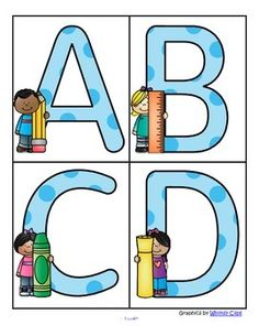 Back to School - Large Alphabet Letters - FREEThis is a set of large upper case letters with a Back to School theme. 4 letters to a page. Print on cardstock.Use to make matching and recognition games for preschool and pre-K children. Large enough for bulletin board and room dcor.There are many other free large letters sets for themes in this store.
