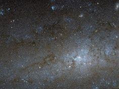 Центральная часть спиральной галактики NGC 247 в фокусе внимания космического телескопа Hubble / Интересный космос