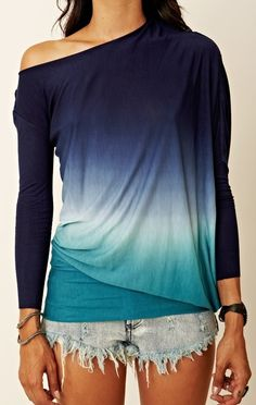 Long sleeve navy ombre top