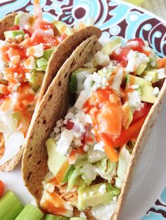 "photo.JPG  375 calories for two chicken tacos.  ""Quick, easy, clean eating, healthy, nutritious. Easy to make variations. Change from blue cheese to low fat cheddar and change dressing from ranch to Catalina light and add salsa. Would pair will with corn and bean salsa or a fruit based salsa like mango pineapple..."""