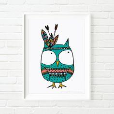 kids prints Owl Indian kid's art nursery art by MiniMoiPrints