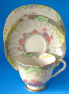 Royal Stafford Art Deco Teacup Trio Hand Colored on Transfer Foliage 1930s Hand Colored