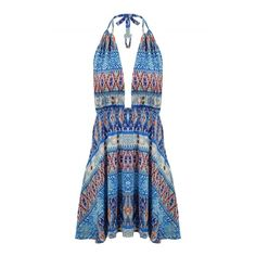 Women's Summer Halter Deep V Backless Print Beach Mini Dress ($16) ❤ liked on Polyvore featuring dresses, white, mini dress, backless halter top, short summer dresses, white mini dress and summer dresses