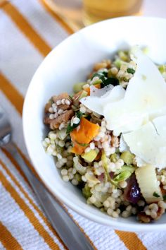 Winter Pasta Salad - Israeli couscous with roasted vegetables