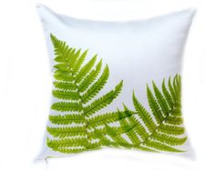 Green Leaf Pillow Cover Leaves Embroidery on Cream by KainKain