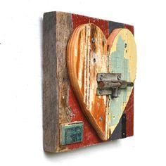 heart art primitive shabby chic chippy paint  by ElizabethRosenArt, $58.00