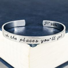 Oh The Places You'll Go! Cuff Bracelet - Graduation Gift - Class of 2018 - Adjustable Aluminum Bracelet Oh The Places You'll Go! Cuff Bracelet - Graduation Gift - Class of 2016 - Adjustable Aluminum Bracelet. Metal Jewelry, Diy Jewelry, Jewelry Making, Bullet Jewelry, Jewellery, Graduation Presents, Graduation Gifts, College Graduation, Senior Gifts
