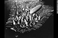 """""""The airship USS Akron flying over the southern tip of Manhattan circa The Akron was a commissioned 'ship' of the United States Navy, built for them by the Goodyear-Zeppelin. Photo New York, New York Photos, Vintage New York, Old Pictures, Old Photos, Vintage Photos, Antique Photos, New York City, A New York Minute"""