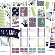 Succulents PRINTABLE Planner Stickers for Erin Condren Vertical | Sticker Printables | Happy Planner Stickers | Cactus Stickers | Desert