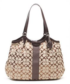 Look what I found on #zulily! Khaki & Mahogany Signature Stripe Shoulder Bag #zulilyfinds
