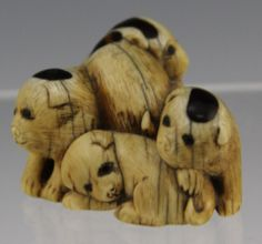 Japanese Carved Ivory Netsuke Okimono 5 Puppies