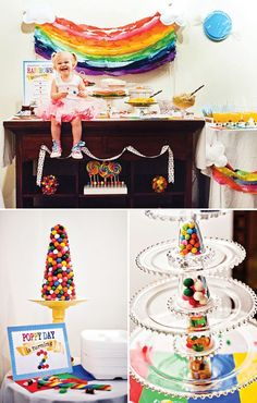 Amazed by this eye-catching and very DIY rainbow back drop. Candy Land theme party.